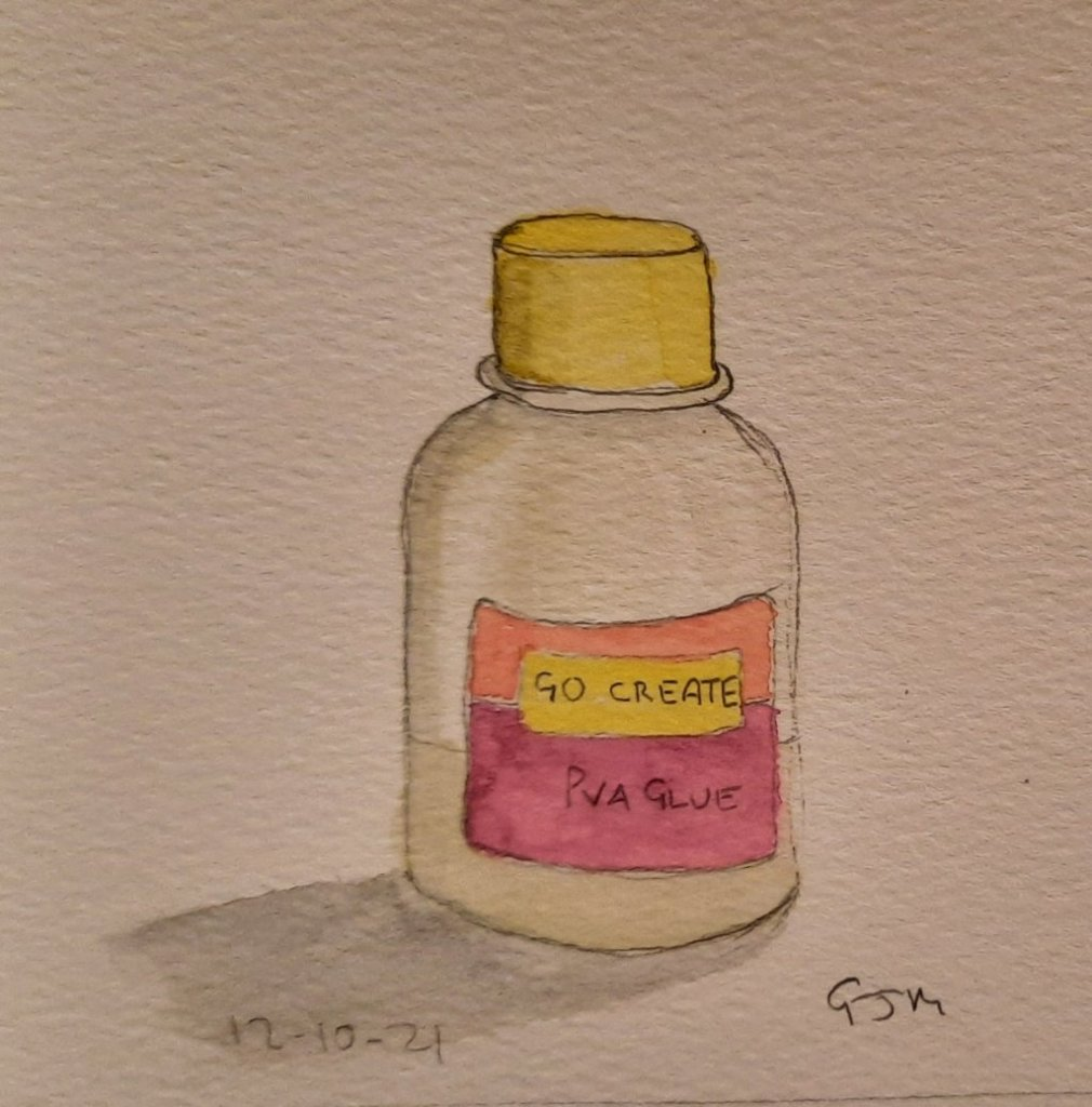 #doodlewashoctober2021 Day 12 Glue. #worldwatercolorgroup 20211012_194628
