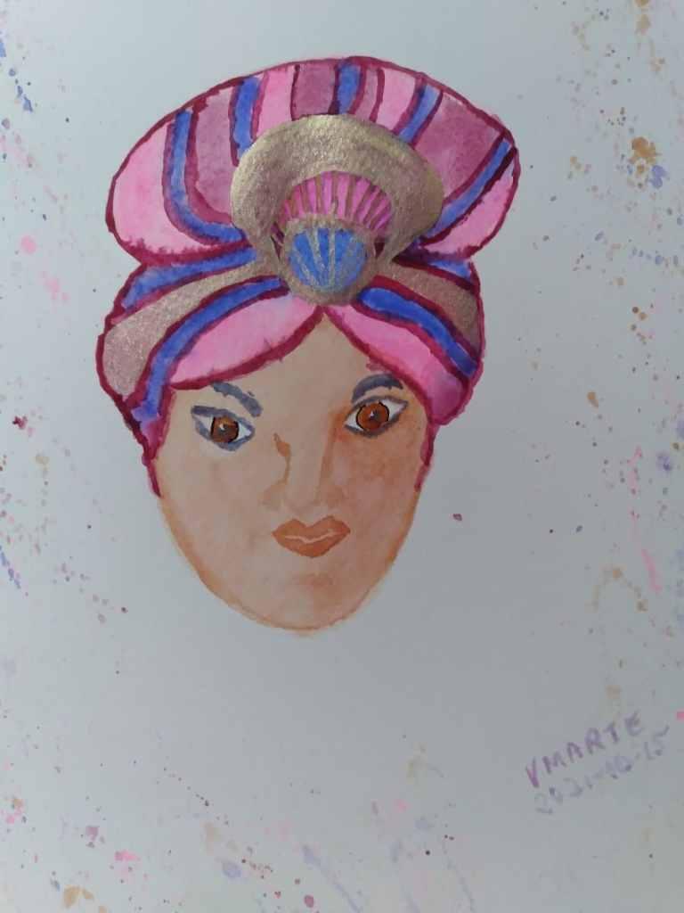 2021-10-15 Prompt 15 Headwear: Elder 'Buela's Mystic Turban. #doodlewashOctober2021 #Wor