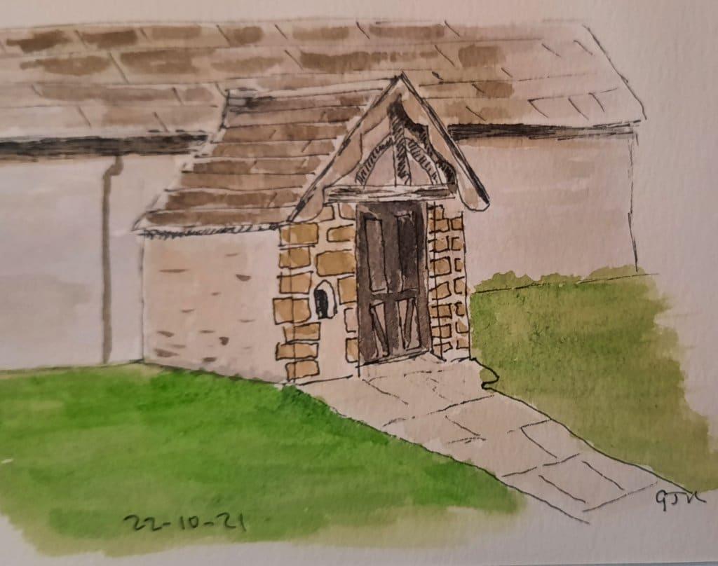 A church porch. #doodlewashoctober2021 Day 22 Door. #worldwatercolorgroup #lineandwash 20211022_1859