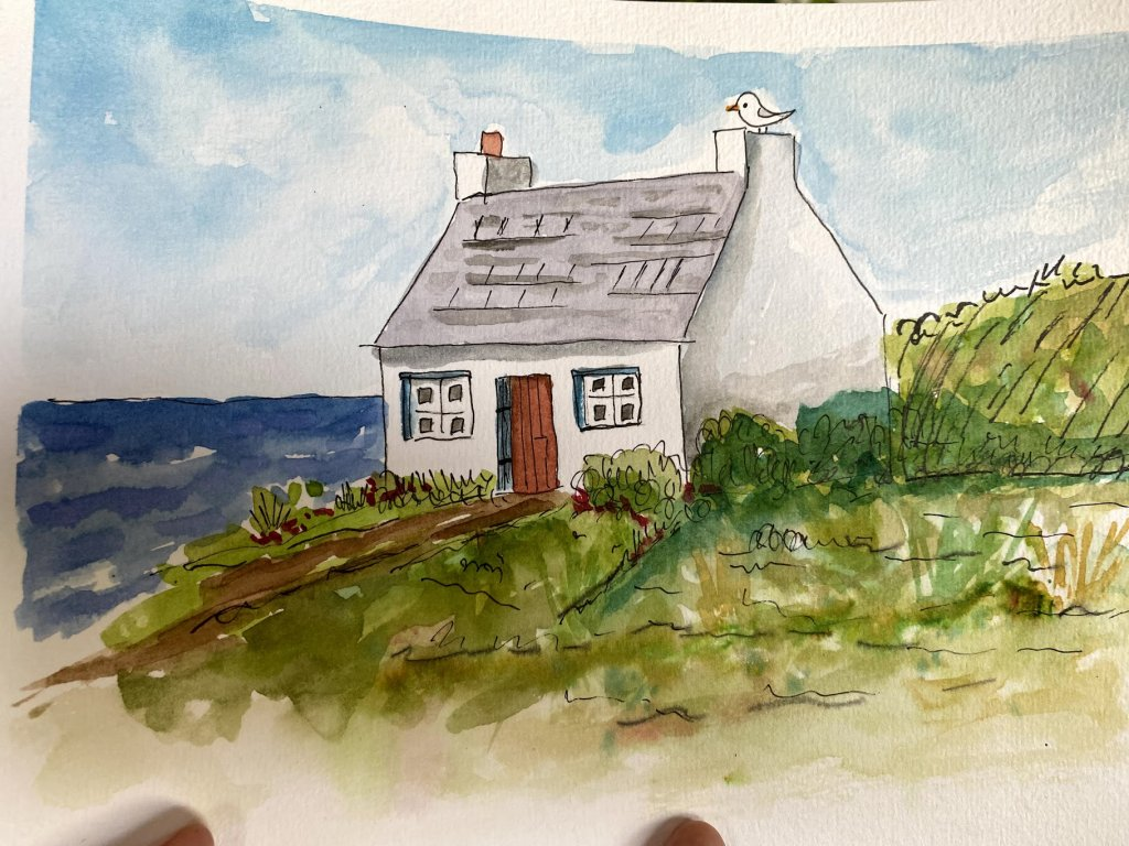 Beach cottage Ink and Wash