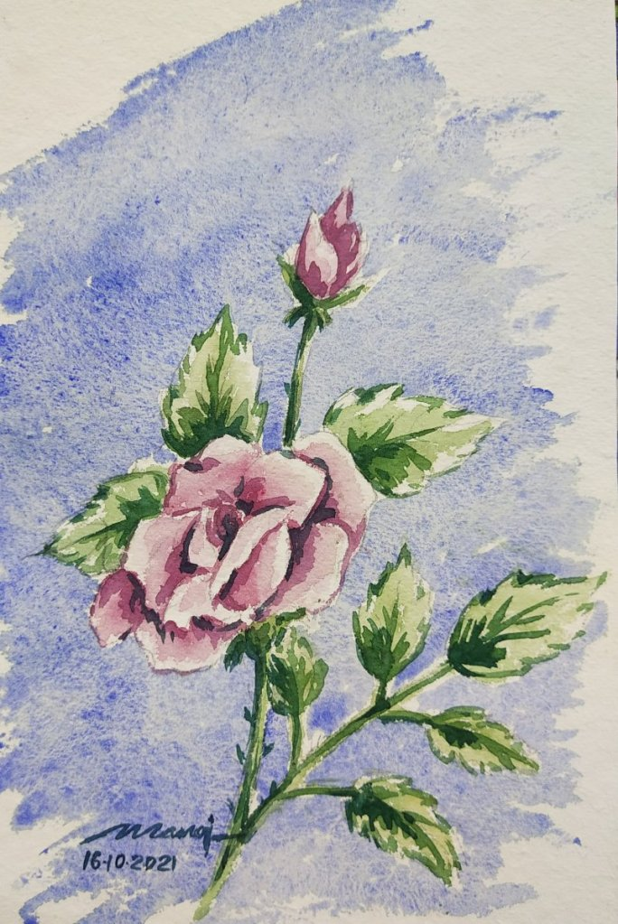 Dt: 16.10.2021 Sub: ROSE Watercolour painting on handmade paper IMG_20211016_082610