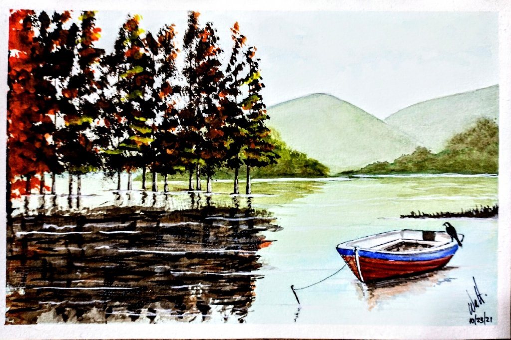 This is a watercolor i have perform for a friend… Autumn on the lake….. IMG_20211023_101