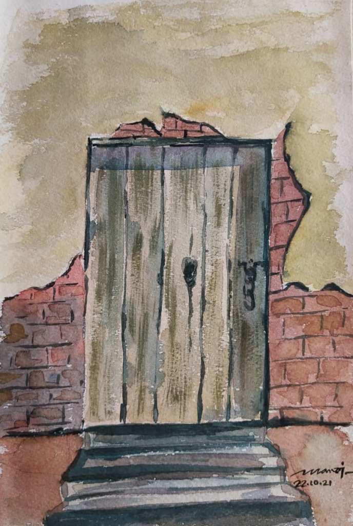 Dt:22.10.2021 Sub: DOOR Watercolour painting on handmade paper IMG_20211023_105829