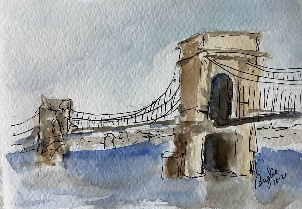 #doodlewashoctober2021 day 26 Chain: sketch of the Chain Bridge in Budapest Hungary IMG_3628