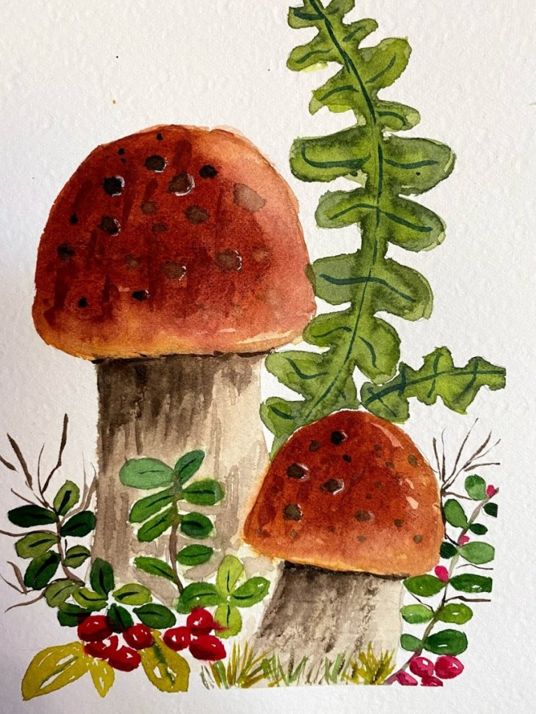 Today – illustration style. Not my favorite, but I like it every now and again. Mushrooms 10-3