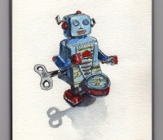 Tiny Toy Robot Doodlewash by Charlie O'Shields