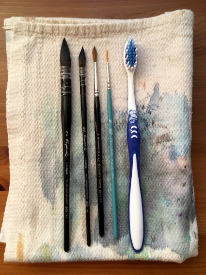 Raphaël Soft Aqua Quill, rosemary & co. kolinsky sable princeton select and a toothbrush