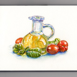 Day 26: #WorldWatercolorMonth Extra Virgin Olive Oil Basil and Tomatoes