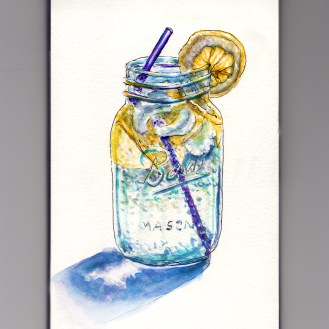 Day 28: #WorldWatercolorMonth Ball Mason Jar with Lemon water and purple straw