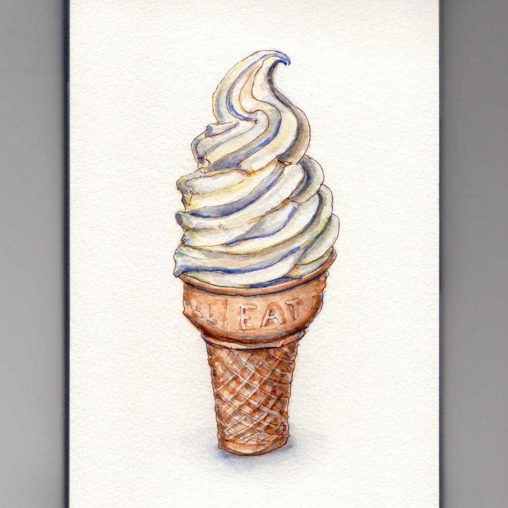 Doodlewash - My Favorite Dessert Vanilla Soft Serve Ice Cream Cone
