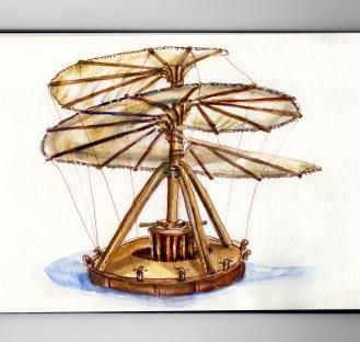 Day 17 #WorldWatercolorGroup My Favorite Person Leonardo da Vinci Aerial Screw