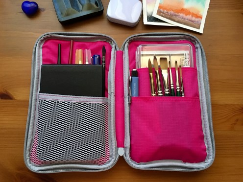 Cheap Joes American Journey and golden fleece Travel brushes and da vinci cosmotop spin travel brush Mochi Things Better Together note pouch v3 watercolor travel setup, artbin, moleskine