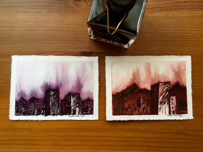 fountain pen ink paintings by jessica seacrest, noodler's american aristocracy, j. herbin 1670 anniversary ink caroube de chypre, fabriano watercolor paper