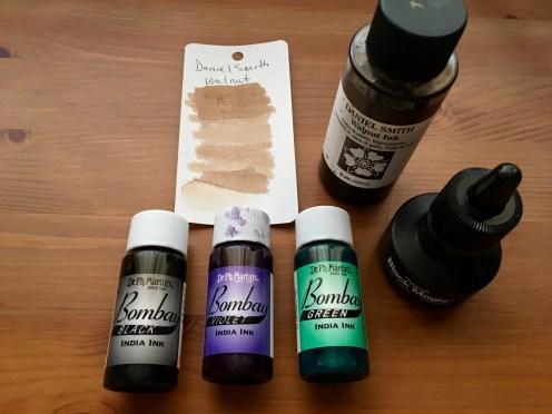 waterproof ink, higgins black magic ink, daniel smith walnut ink, dr. ph. martin's bombay india ink