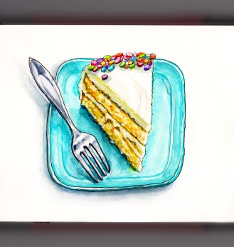Day 31 - #WorldWatercolorGroup Happy Birthday Cake Confetti Cake on Blue Plate With Fork