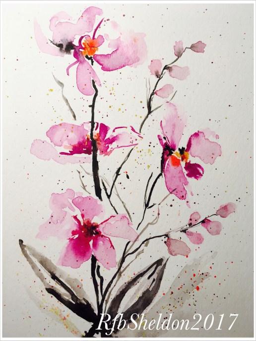 #WorldWatercolorGroup - Watercolor painting of pink flowers by Rocelee F. Benedicto-Sheldon - #doodlewash
