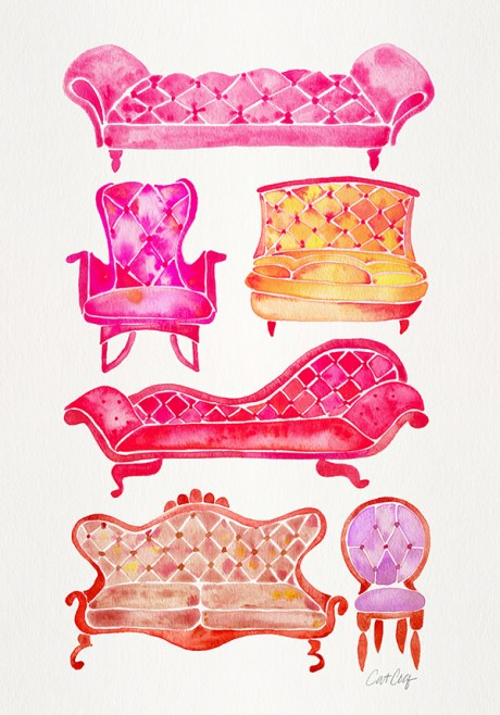 #WorldWatercolorGroup - Watercolor Art by Cat Coquillette - Victorian Lounge Furniture - #doodlewash