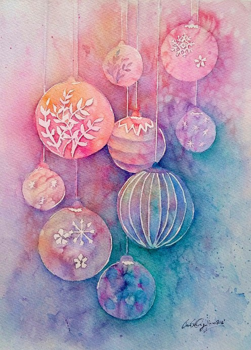 #WorldWatercolorGroup - watercolor ornaments by Cheryl Sun-Ong - #doodlewash