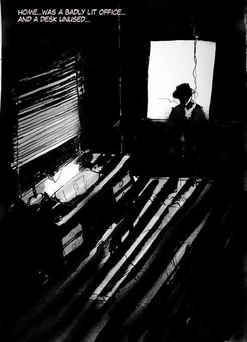 #WorldWatercolorGroup - Sketch by Tim Soekkha of Noir office scene - #doodlewash