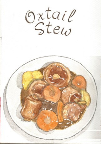 #WorldWatercolorGroup - Watercolor by Consuelo Diaz of Oxtail Stew - #doodlewash
