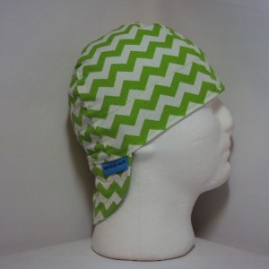Lime and White Chevrons Welding Cap