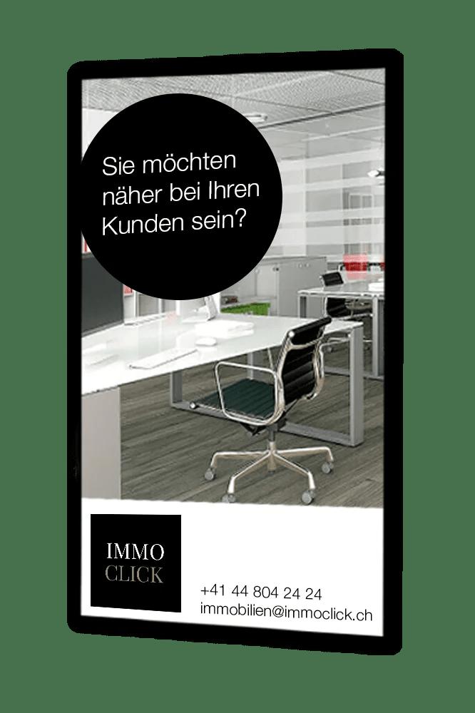 Digitale Infotafel Immoclick Werbeanzeige Hochformat