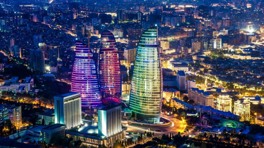 Flame Towers Baku Night View
