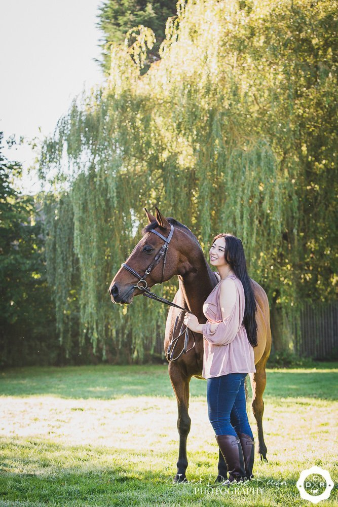 horse and rider in a field on a photo shoot