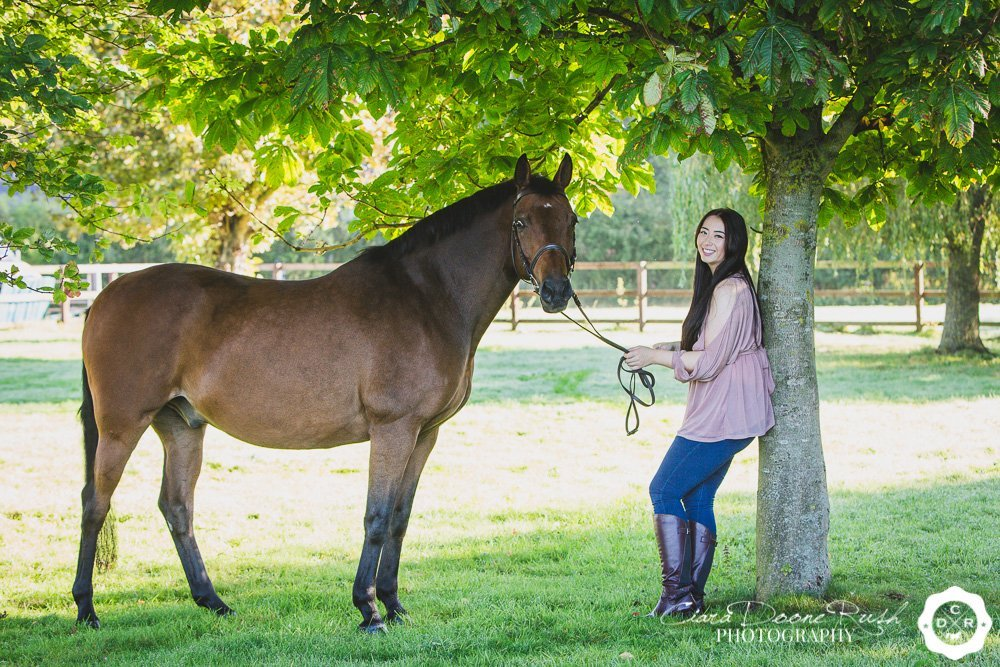 a horse and rider on a remember me photo shoot