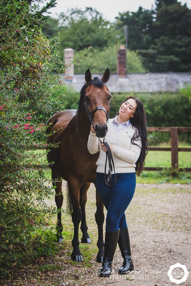 show horse and rider on a shoot
