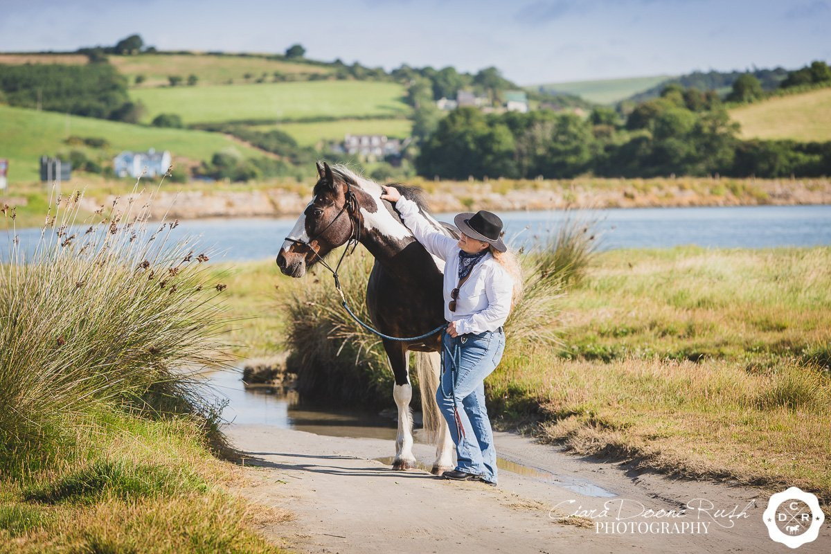 on location at harbour view beach in cork for a Horse and rider photo shoot