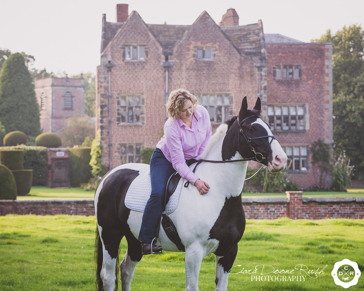 on location at peover hall for a Horse and rider photo shoot