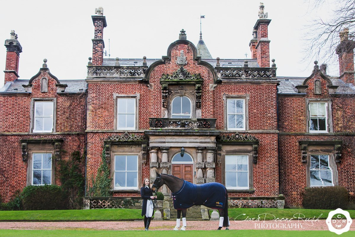 on location on the wirral for a Horse and rider photo shoot
