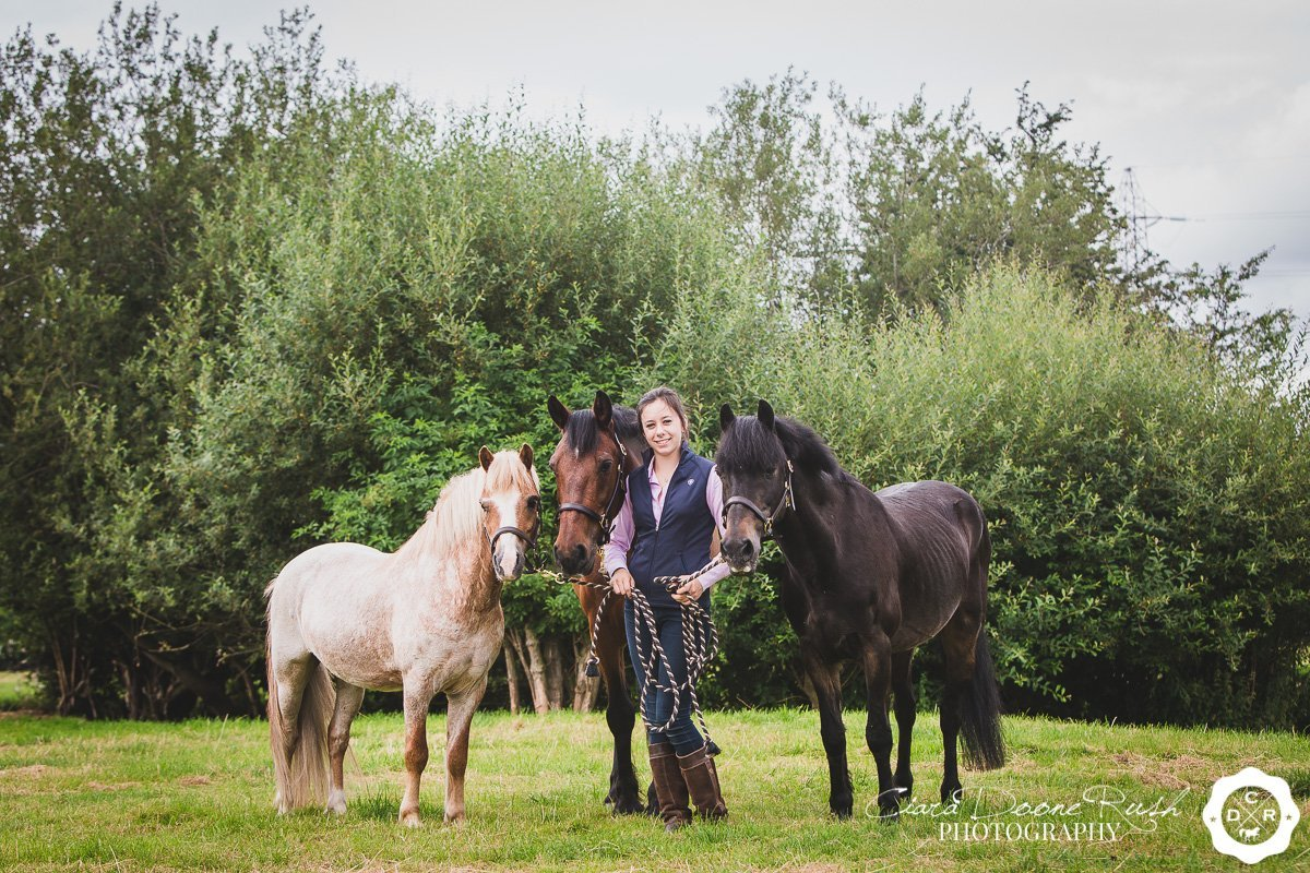 A girl and her three ponies on a photo shoot in cheshire