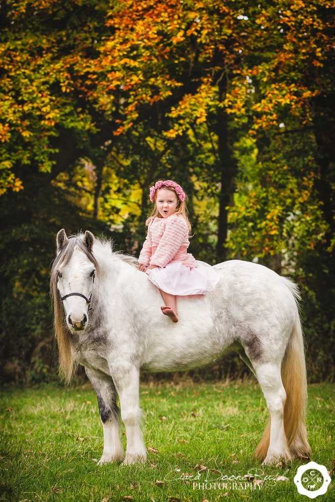 a little girl in a tutu sitting on her pony