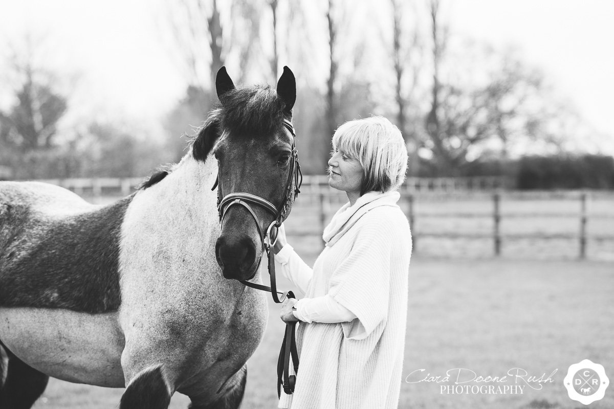 a woman and her pony on a photo shoot in cheshire