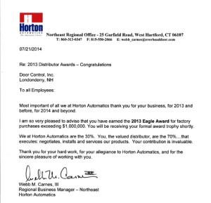 Horton Distributor Awards Letter