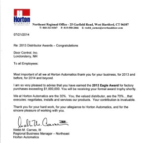 Horton Distributor Awards Letter
