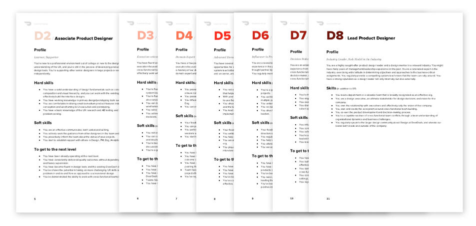 Defining the different designer levels at DoorDash