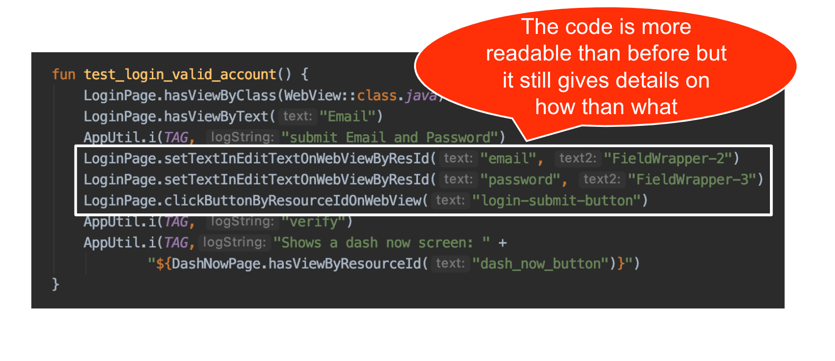 An automation test using the Page Object pattern produces a better organized and more concise test then in our previous example.