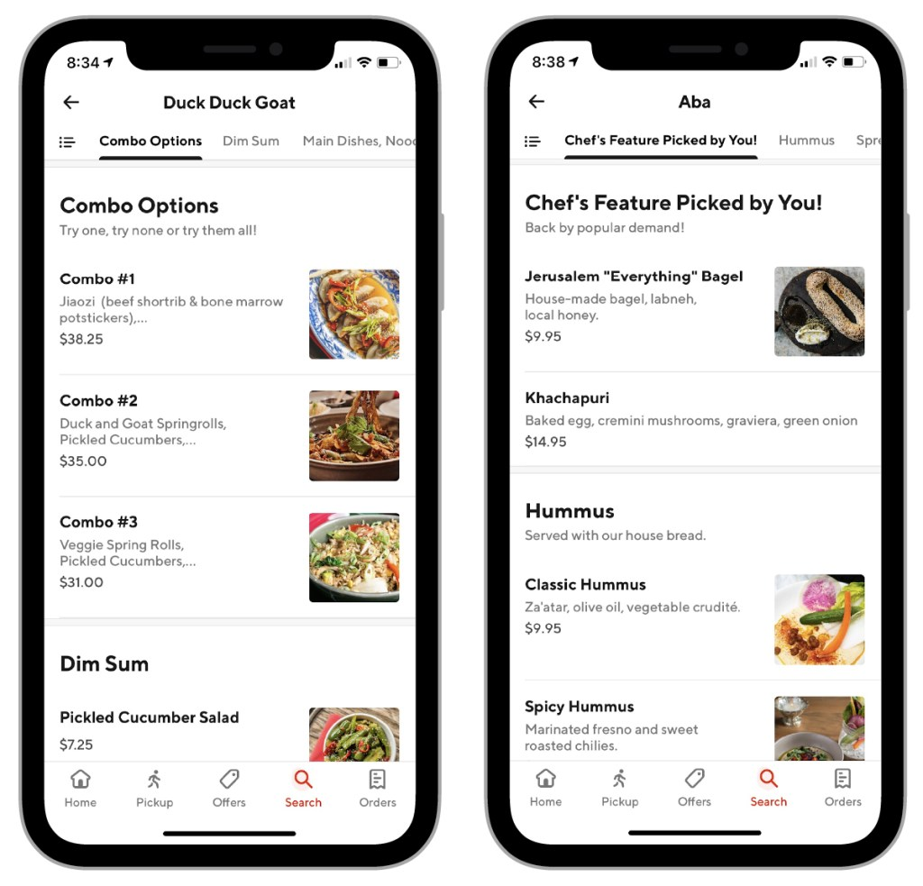 Two different examples of online delivery menu layouts