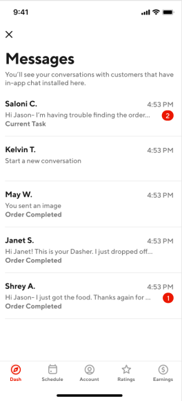 The inbox screen, created through the SendBird SDK, makes it convenient to view all customer messages at the same time.