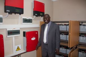Mayor Masina with inverters and battery bank