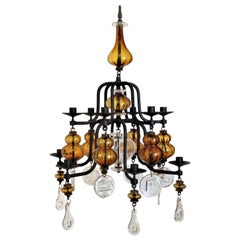 Twelve Candle Chandelier by Erick Hoglund for Boda Glassworks