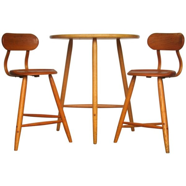 Kai Pedersen Woodwork Studio Furniture Table and Stools - 1983