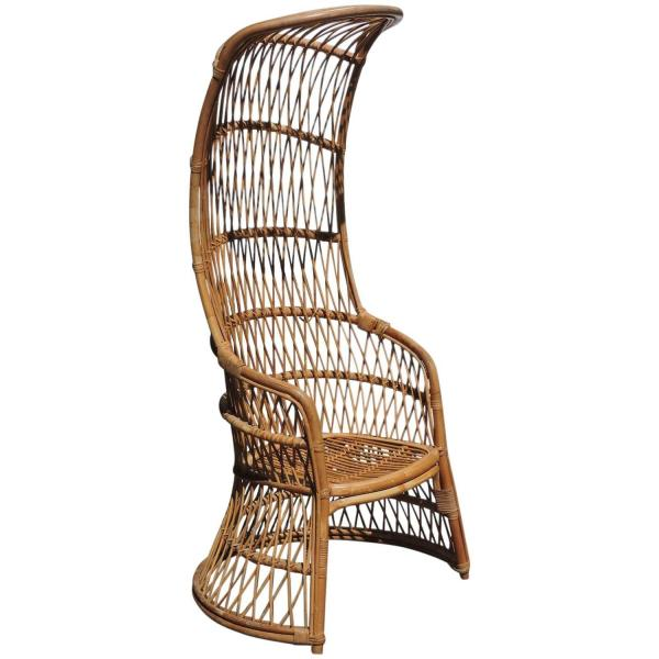 Tall Hooded Rattan Armchair in the style of Franco Albini
