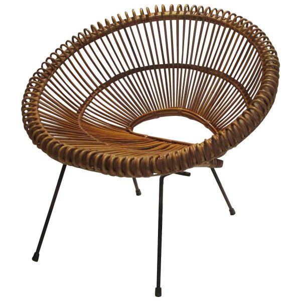 Rattan and Iron Hoop Chair Franco Albini