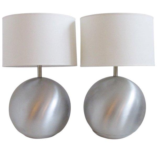 Spun Aluminum Ball Lamps Russel Wright