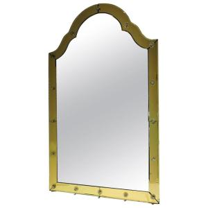 Golden Amber Archtop Venetian Glass Mirror