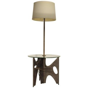 Brutalist Iron Sculpture Table & Lamp by Harry Balmer for Laurel